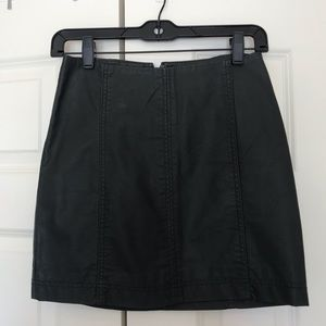 Free People Army Green Leather Skirt